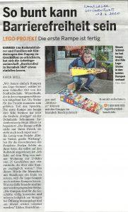 Bericht im Hamburger Wochenblatt zur Übergabe der ersten Lego-Rampen an das Café EisQgel.