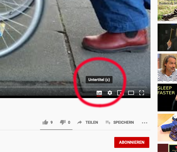 Markierter Untertitel-Button im Youtube-Video